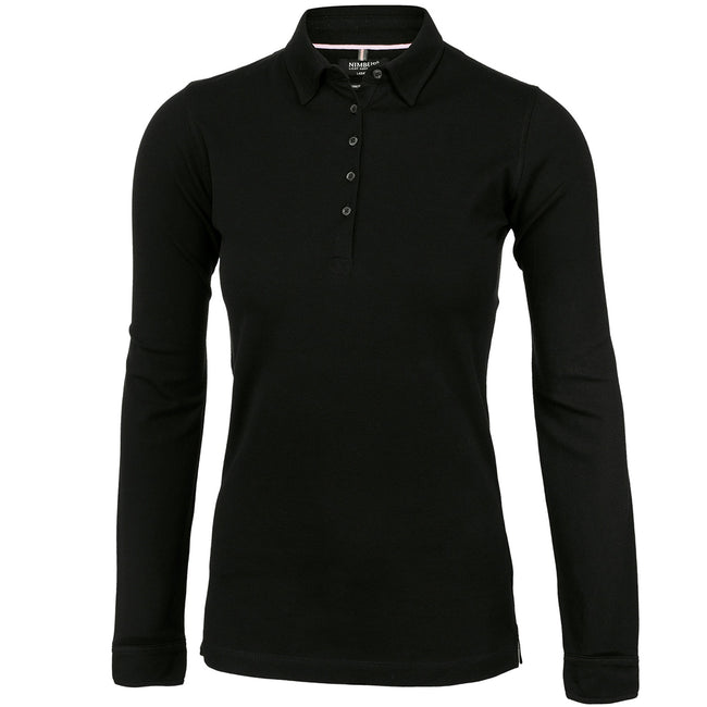 Black - Front - Nimbus Womens-Ladies Carlington Deluxe Long Sleeve Polo Shirt