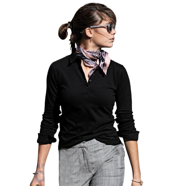 White - Front - Nimbus Womens-Ladies Carlington Deluxe Long Sleeve Polo Shirt
