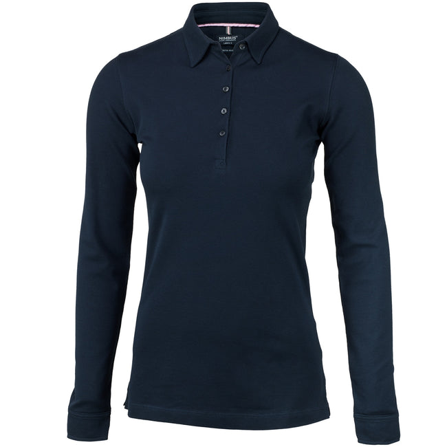 Navy - Front - Nimbus Womens-Ladies Carlington Deluxe Long Sleeve Polo Shirt