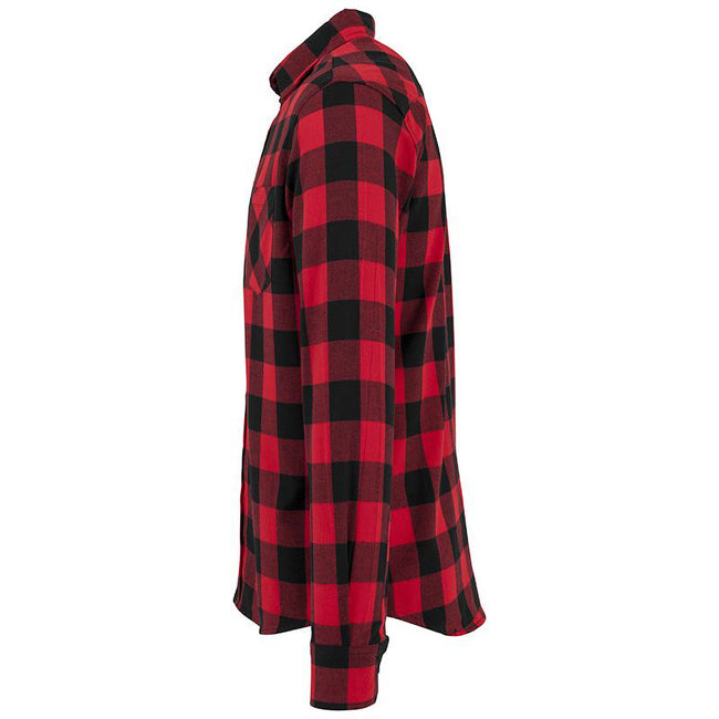 Black-Red - Side - Build Your Brand Mens Checked Flannel Shirt
