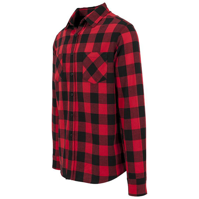 Black-Red - Lifestyle - Build Your Brand Mens Checked Flannel Shirt
