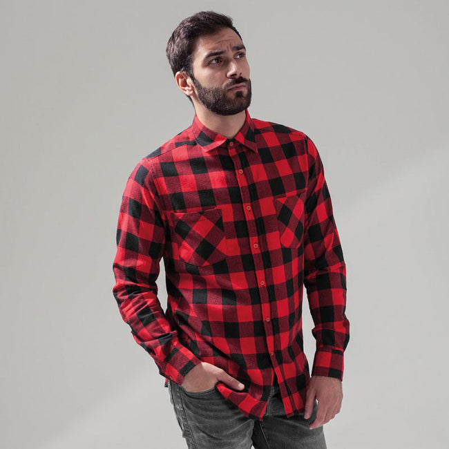 Black-Red - Pack Shot - Build Your Brand Mens Checked Flannel Shirt