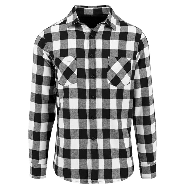 Black-White - Front - Build Your Brand Mens Checked Flannel Shirt
