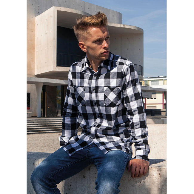 Black-White - Back - Build Your Brand Mens Checked Flannel Shirt