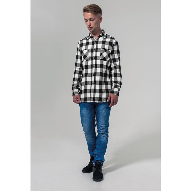 Black-White - Side - Build Your Brand Mens Checked Flannel Shirt
