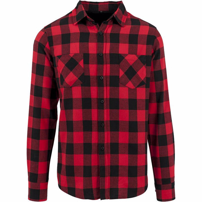 Black-Red - Front - Build Your Brand Mens Checked Flannel Shirt