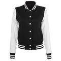 Black-White - Front - Build Your Brand Womens-Ladies Sweat College Jacket