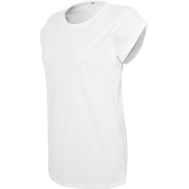 White - Lifestyle - Build Your Brand Womens-Ladies Extended Shoulder T-Shirt