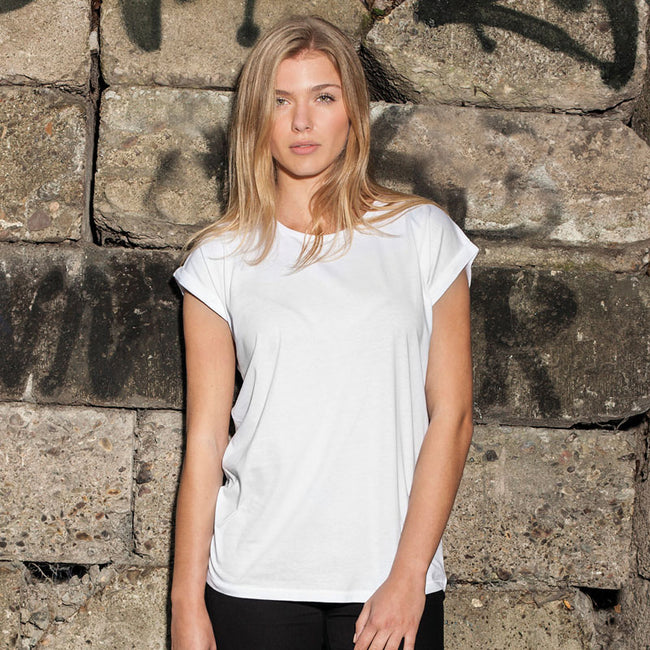 White - Pack Shot - Build Your Brand Womens-Ladies Extended Shoulder T-Shirt