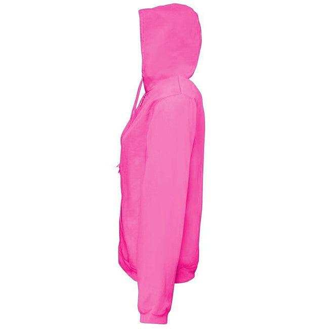 Neon Pink - Side - Comfort Colors Womens-Ladies Full Zip Hooded Sweatshirt