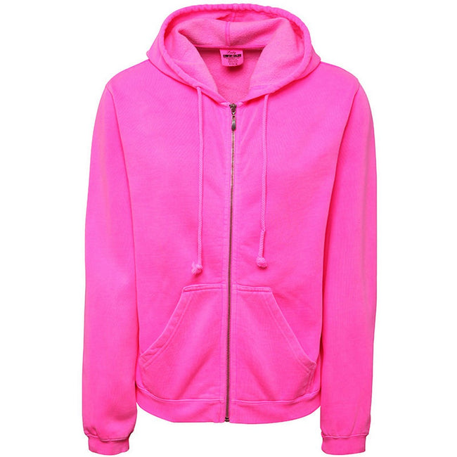 Neon Pink - Front - Comfort Colors Womens-Ladies Full Zip Hooded Sweatshirt