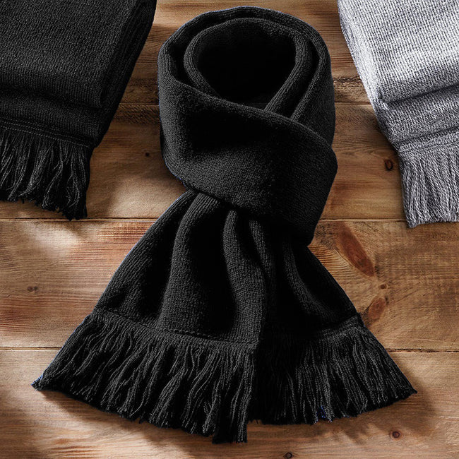 Black - Back - Beechfield Unisex Classic Knitted Scarf