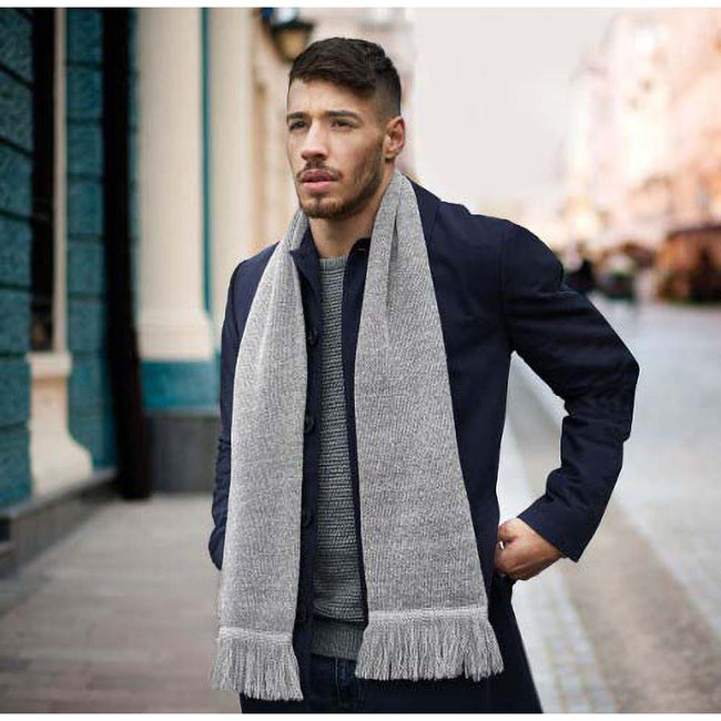 Heather Grey - Side - Beechfield Unisex Classic Knitted Scarf
