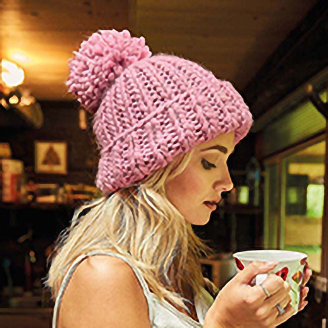 Dusky Pink - Back - Beechfield Womens-Ladies Oversized Hand Knitted Beanie