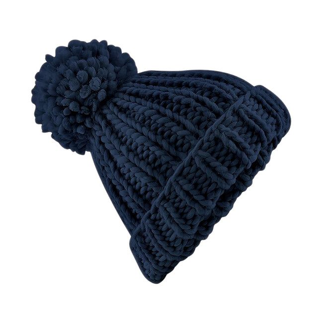 French Navy - Front - Beechfield Womens-Ladies Oversized Hand Knitted Beanie