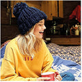French Navy - Side - Beechfield Womens-Ladies Oversized Hand Knitted Beanie
