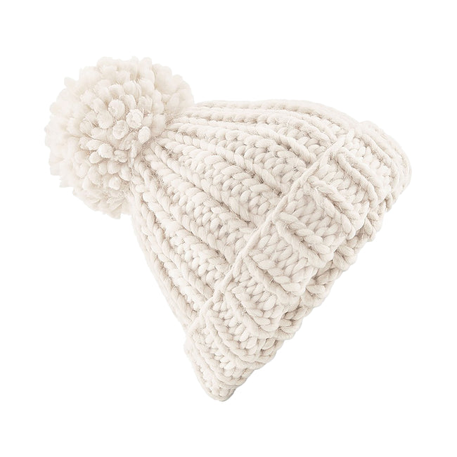 Oatmeal - Front - Beechfield Womens-Ladies Oversized Hand Knitted Beanie