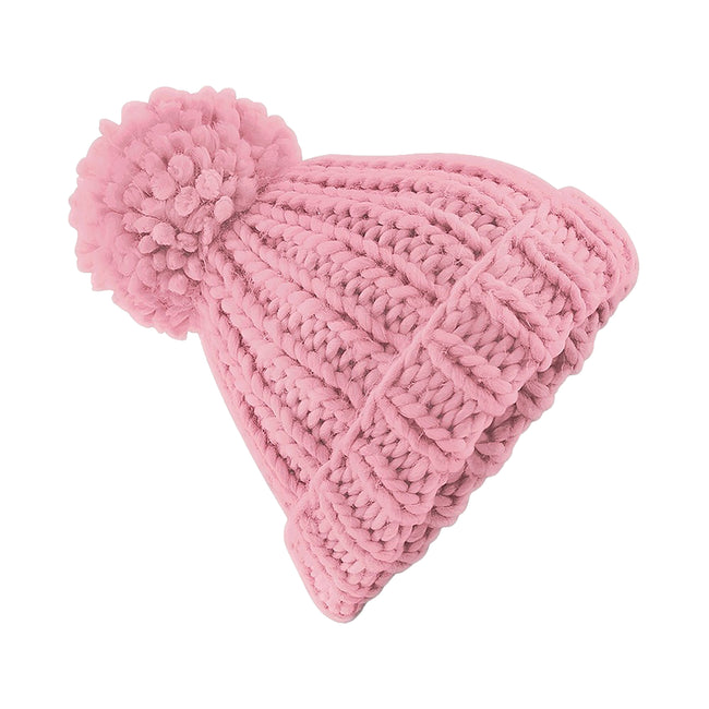 Dusky Pink - Front - Beechfield Womens-Ladies Oversized Hand Knitted Beanie