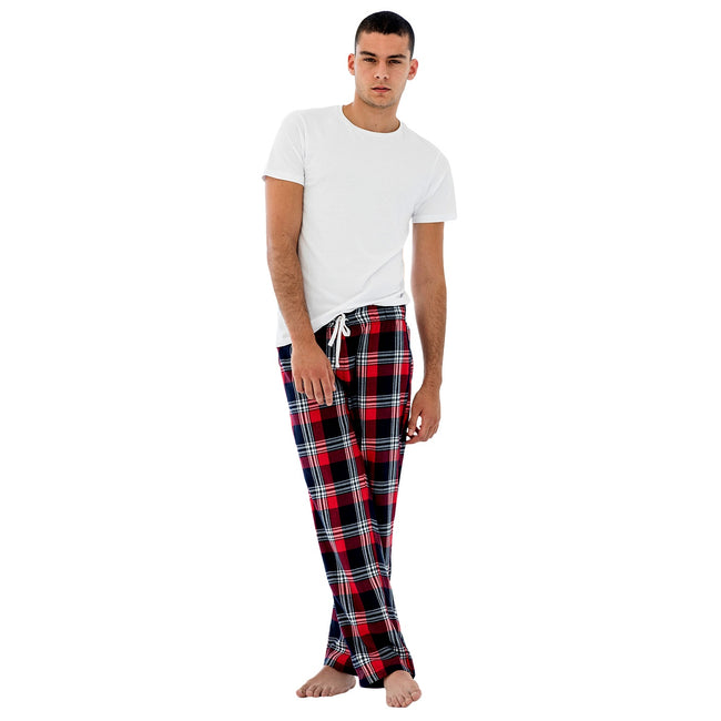 Navy-Green Check - Front - Skinnifit Mens Tartan Lounge Pants