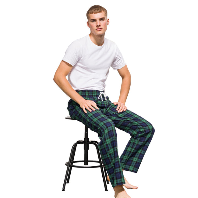 White-Multi Check - Back - Skinnifit Mens Tartan Lounge Pants