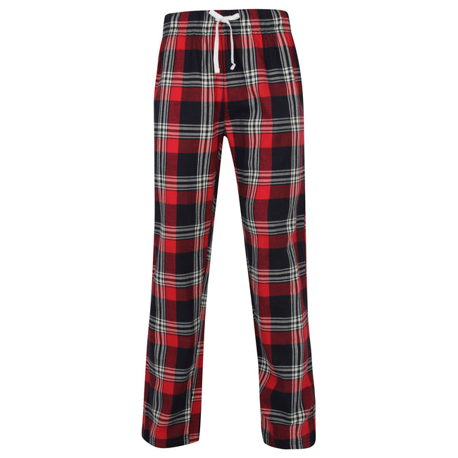 Red-Navy Check - Front - Skinnifit Mens Tartan Lounge Pants