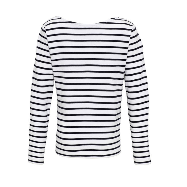 White-Navy - Back - Asquith & Fox Childrens-Kids Mariniere Coastal Long Sleeve T-Shirt