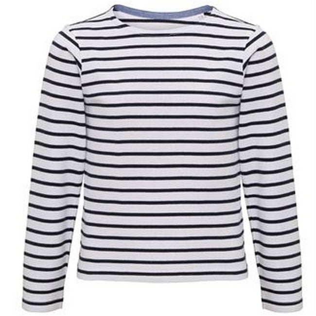 White-Navy - Front - Asquith & Fox Childrens-Kids Mariniere Coastal Long Sleeve T-Shirt