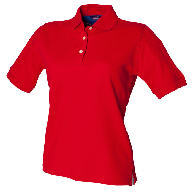 Classic Red - Front - Henbury Womens-Ladies Classic Polo Shirt