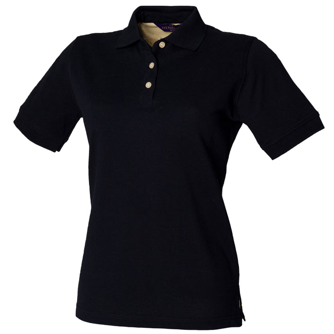 Navy - Front - Henbury Womens-Ladies Classic Polo Shirt