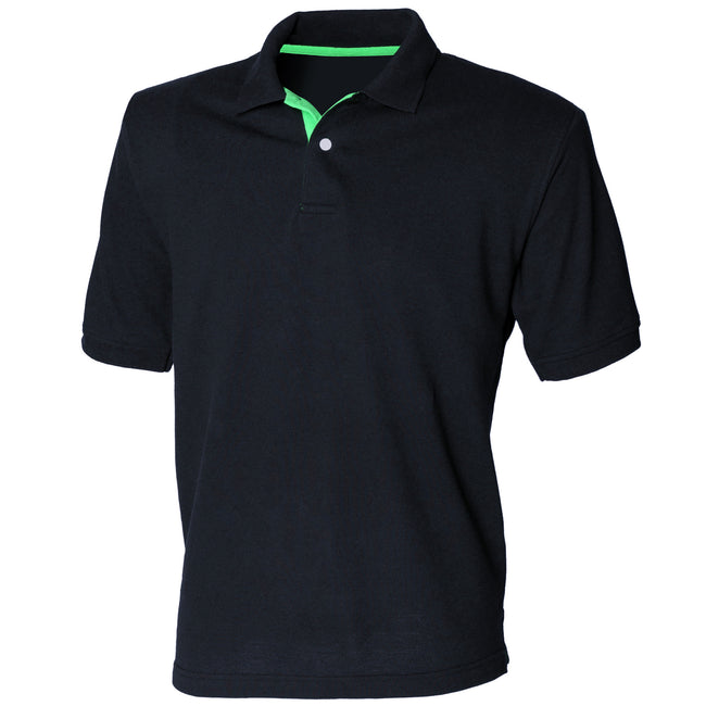 Navy - Bright Green - Front - Henbury Mens Contrast 65-35 Polo Shirt