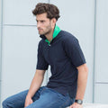 Navy - Bright Green - Back - Henbury Mens Contrast 65-35 Polo Shirt