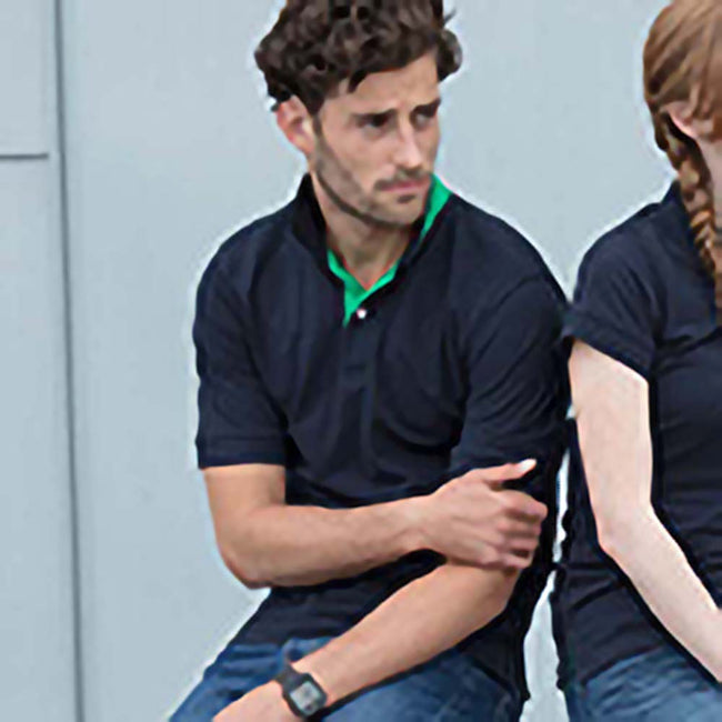 Navy - Bright Green - Lifestyle - Henbury Mens Contrast 65-35 Polo Shirt