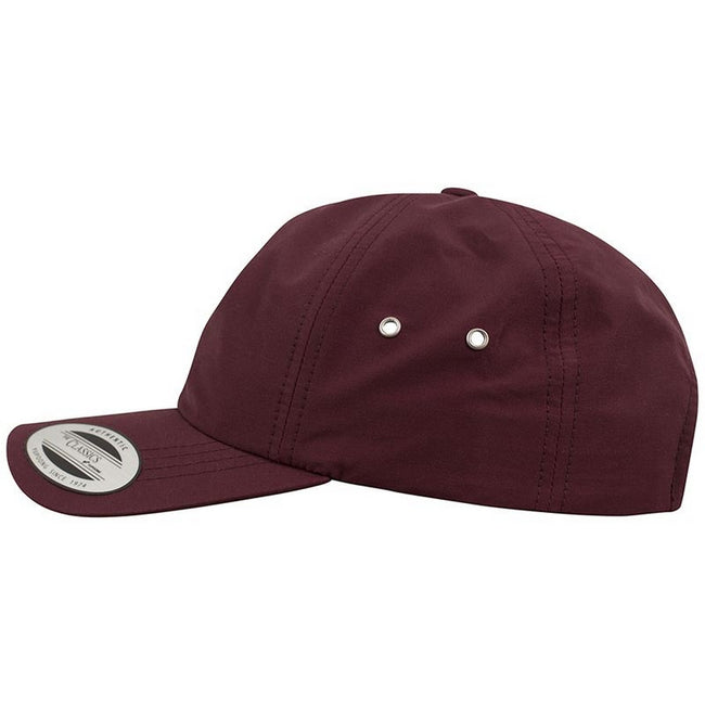 Maroon - Close up - Yupoong Flexfit Low Profile Water Repellent Baseball Cap