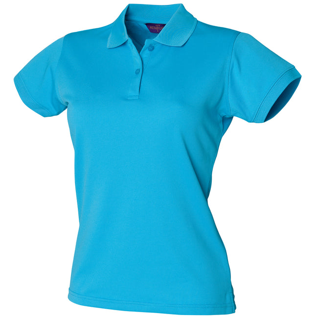 Turquoise - Front - Henbury Womens-Ladies Coolplus® Fitted Polo Shirt