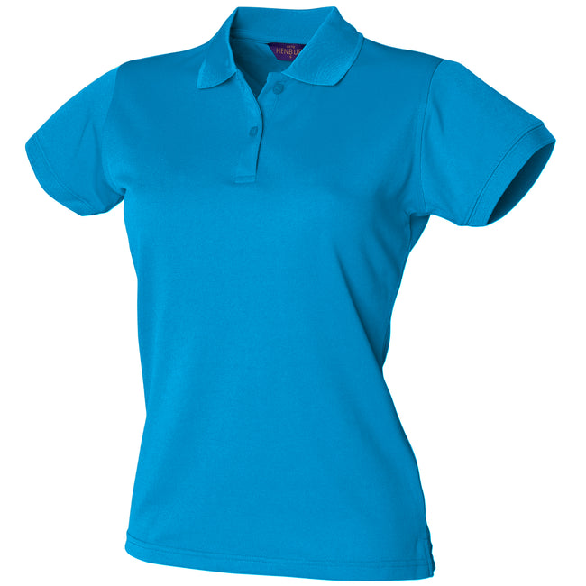 Sapphire Blue - Front - Henbury Womens-Ladies Coolplus® Fitted Polo Shirt