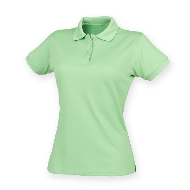 Lime Green - Front - Henbury Womens-Ladies Coolplus® Fitted Polo Shirt