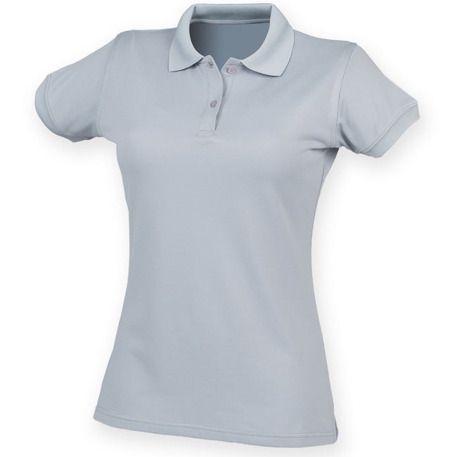 Silver Grey - Front - Henbury Womens-Ladies Coolplus® Fitted Polo Shirt