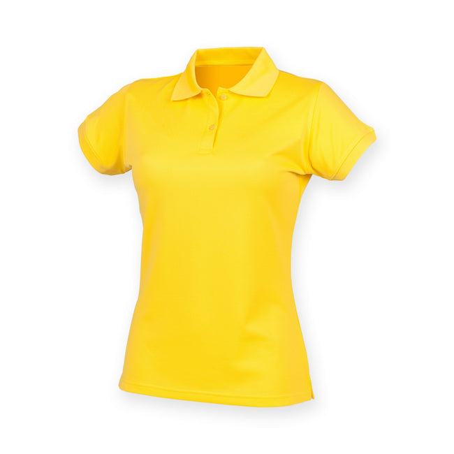 Yellow - Front - Henbury Womens-Ladies Coolplus® Fitted Polo Shirt