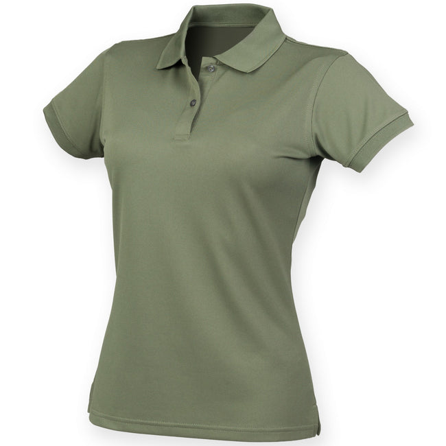 Olive - Front - Henbury Womens-Ladies Coolplus® Fitted Polo Shirt