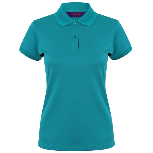 Bright Jade - Front - Henbury Womens-Ladies Coolplus® Fitted Polo Shirt