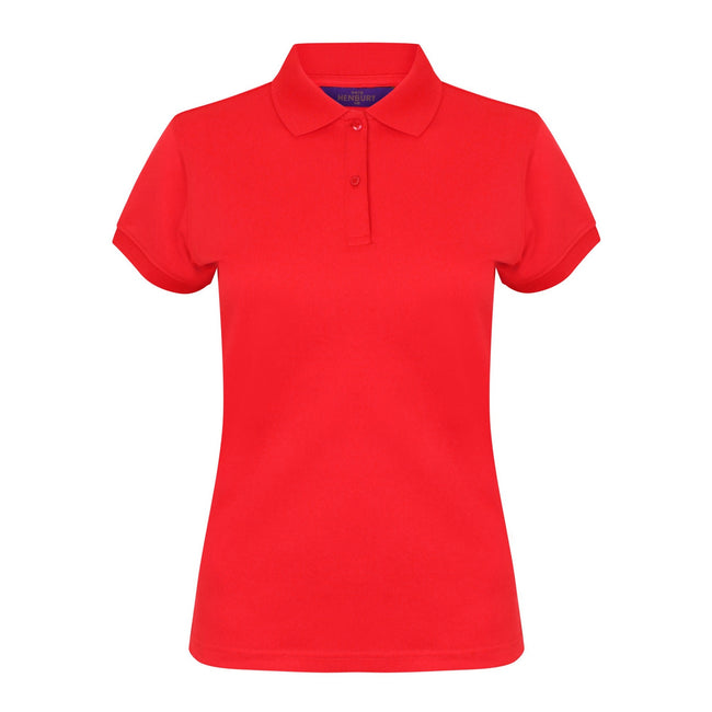 Red - Front - Henbury Womens-Ladies Coolplus® Fitted Polo Shirt