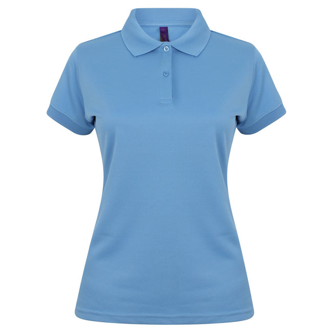 Mid Blue - Front - Henbury Womens-Ladies Coolplus® Fitted Polo Shirt