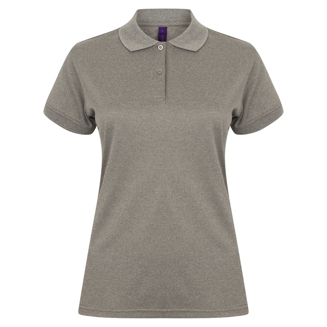 Heather Grey - Front - Henbury Womens-Ladies Coolplus® Fitted Polo Shirt