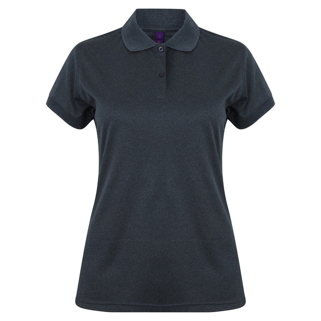 Heather Navy - Front - Henbury Womens-Ladies Coolplus® Fitted Polo Shirt