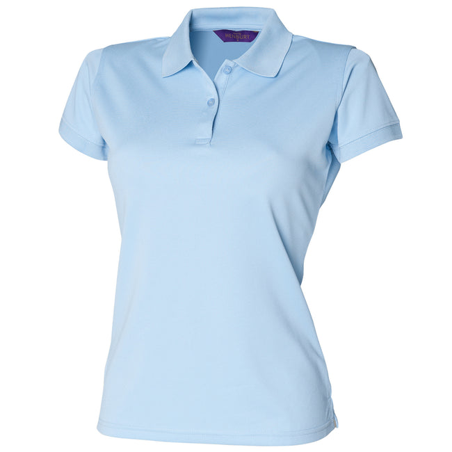 Light Blue - Front - Henbury Womens-Ladies Coolplus® Fitted Polo Shirt
