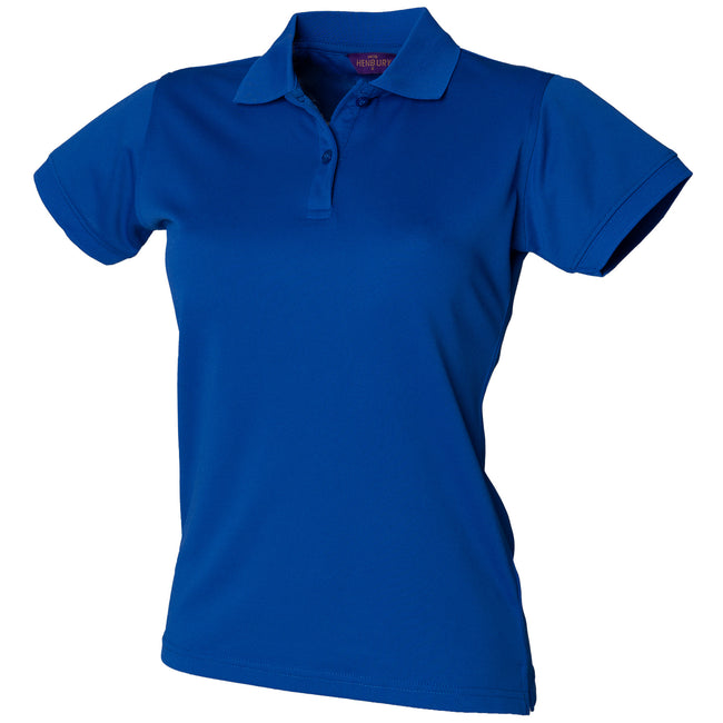 Royal - Front - Henbury Womens-Ladies Coolplus® Fitted Polo Shirt