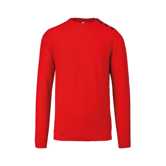 Deep Red - Front - Kariban Mens Buttoned Shoulder Jumper