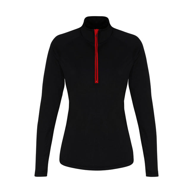 Black-Red - Front - TriDri Womens-Ladies Long Sleeve Performance Quarter Zip Top