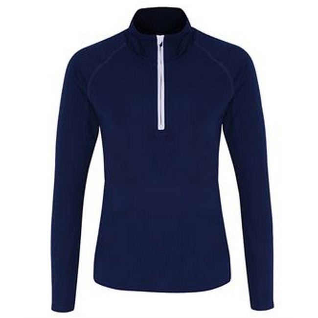 Navy-White - Front - TriDri Womens-Ladies Long Sleeve Performance Quarter Zip Top