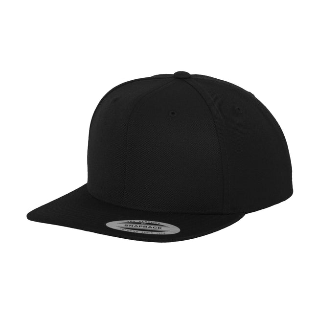 Black - Front - Yupoong Mens The Classic Premium Snapback Cap (Pack of 2)